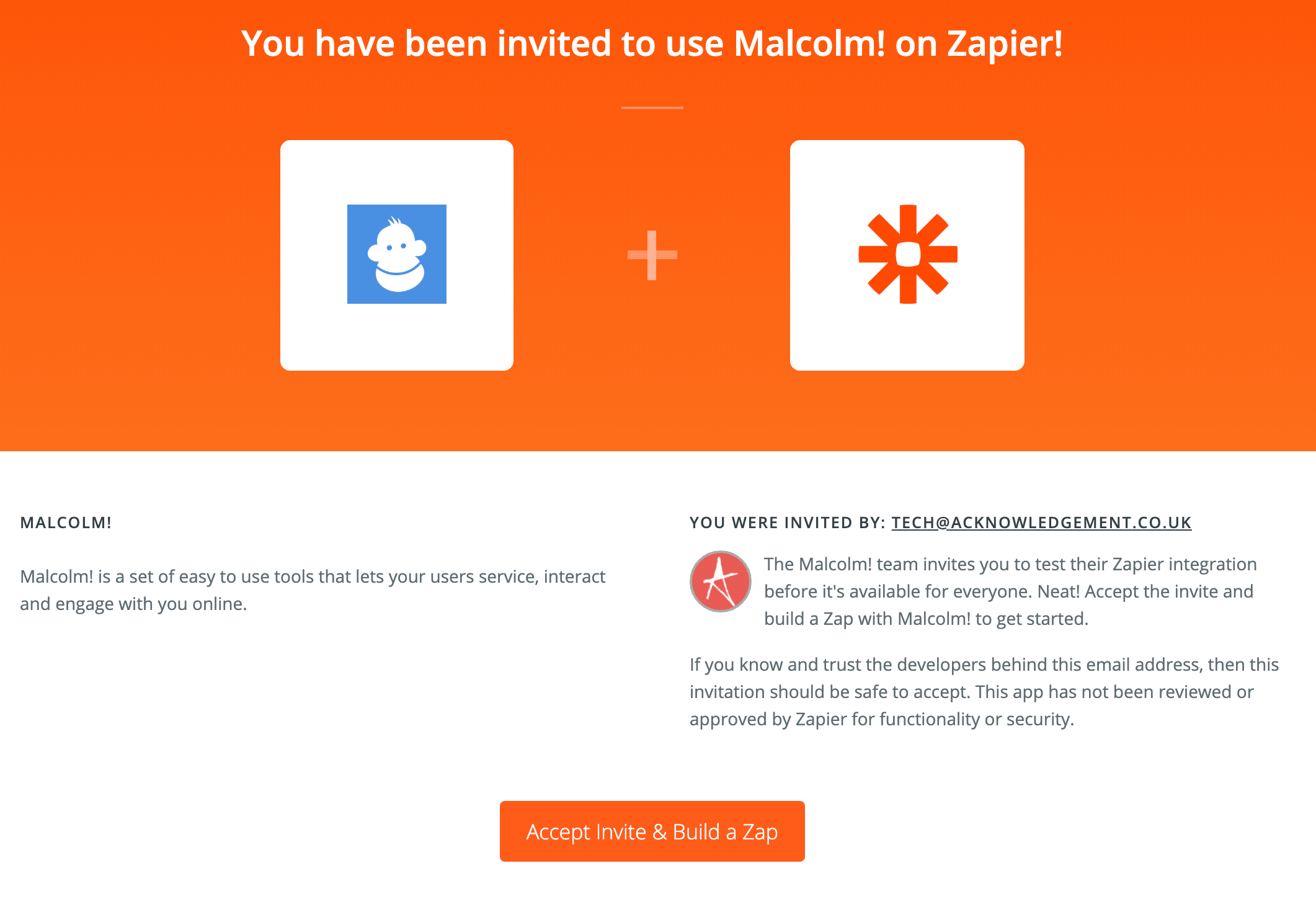 Accept Malcolm! invite in Zapier