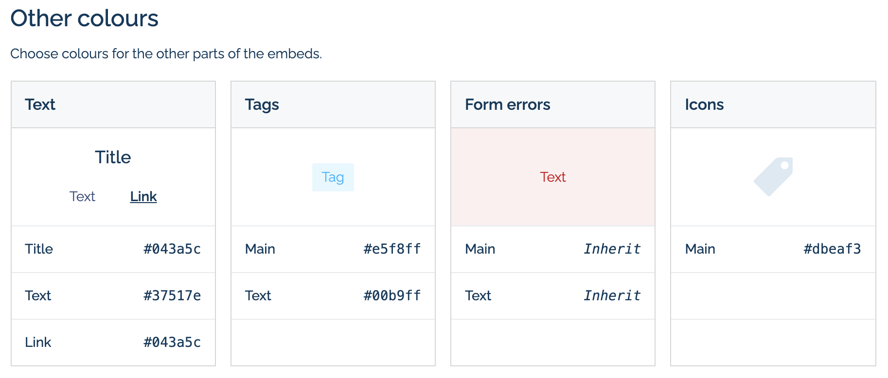 Link colour management in Embed Themes