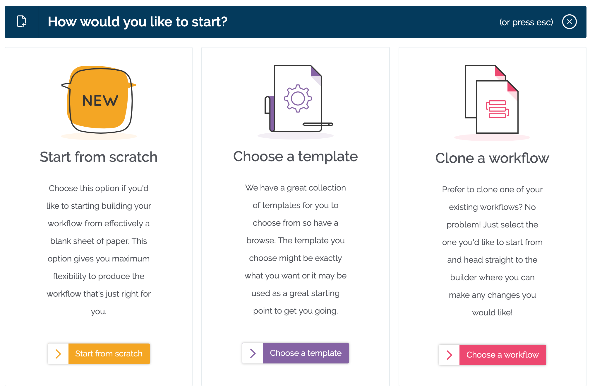 Workflows: How would you like to start?