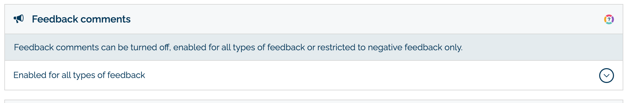Feedback comment setting in MyMalcolm