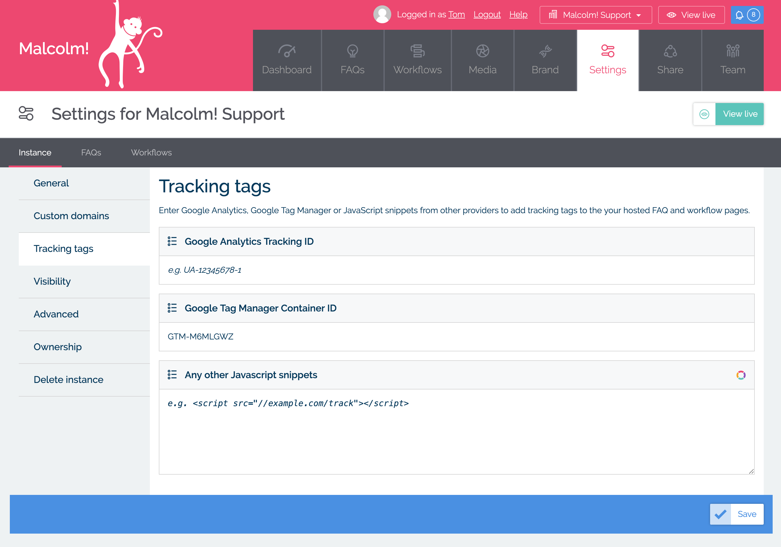 Tag management in MyMalcolm