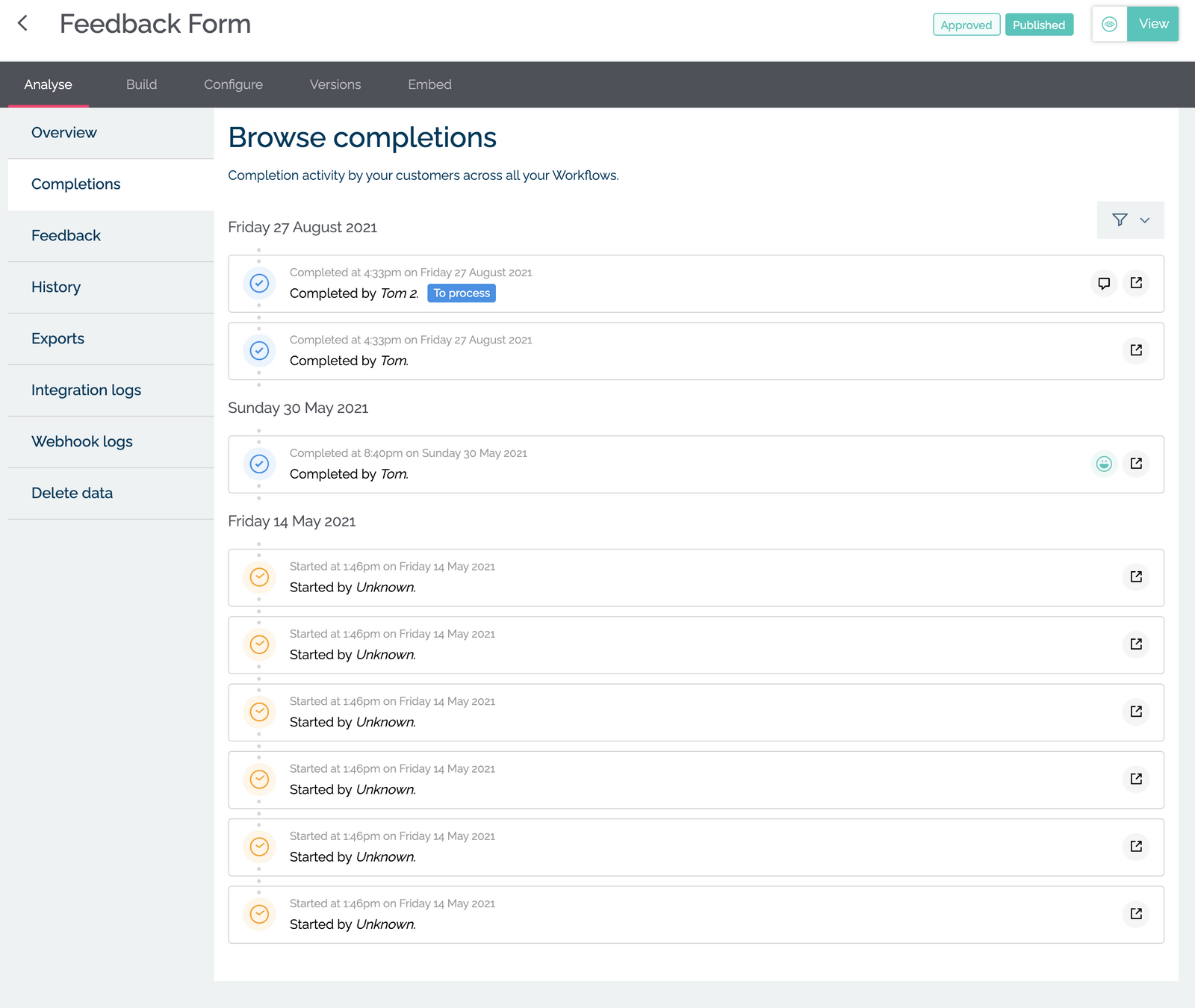 Browse Workflow completions in MyMalcolm