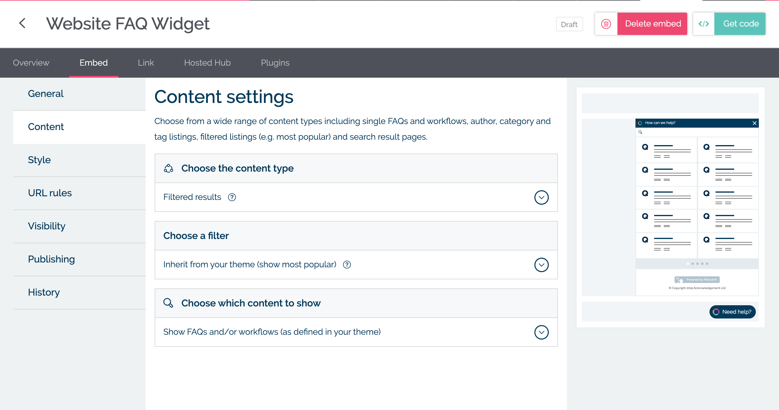 Choose your embed content in MyMalcolm