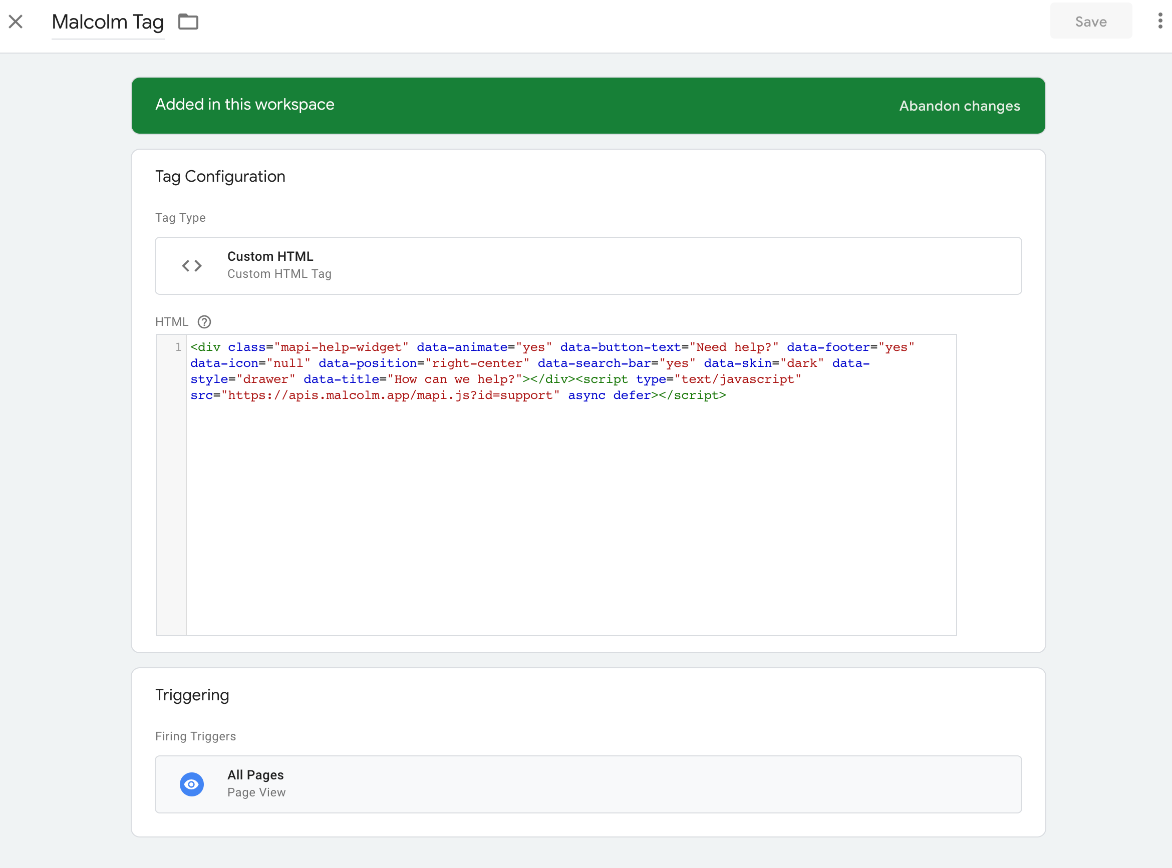 Adding Malcolm! embed code into Google Tag Manager