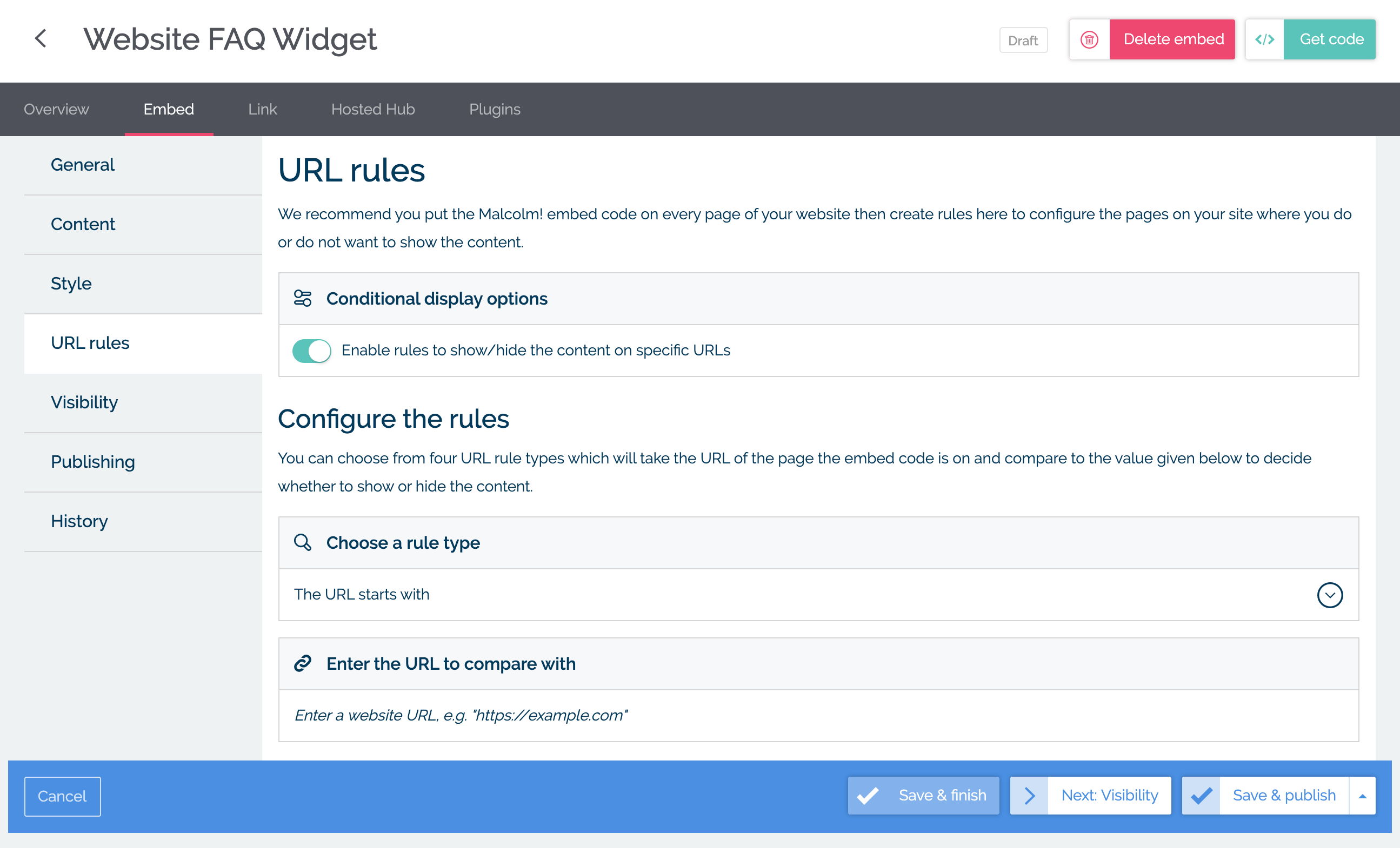 Manage URL rules for your widget