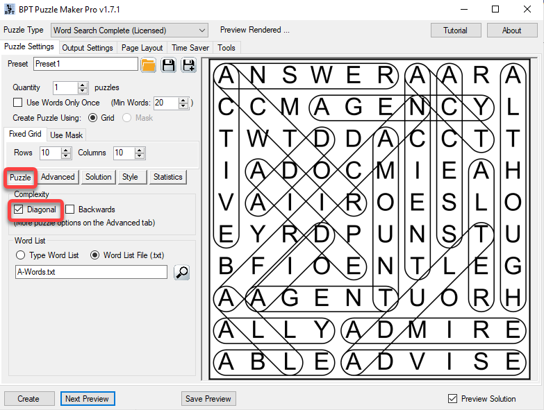 How to Enable Diagonals in Word Search