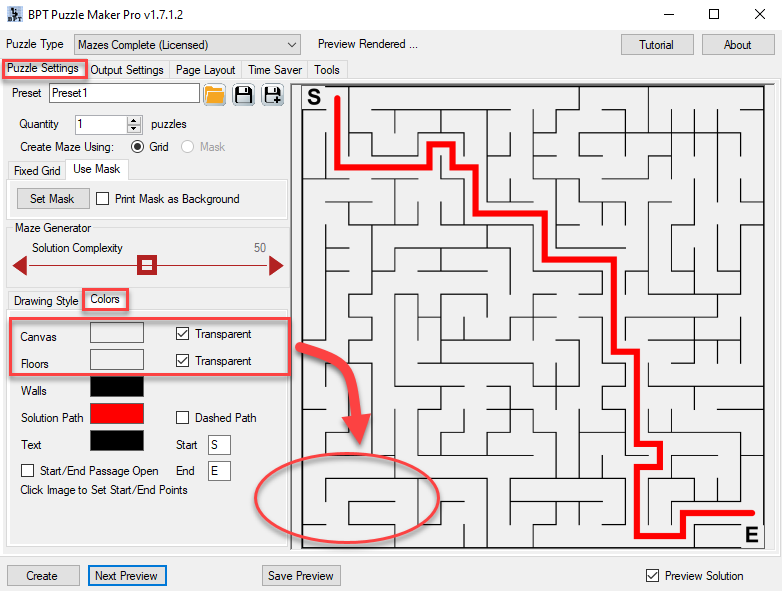 Creating a transparent background for your maze.